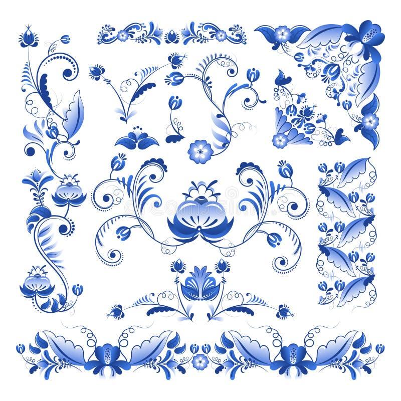Vector границы, углы и другие флористические элементы в стиле Gzhel бесплатная иллюстрация