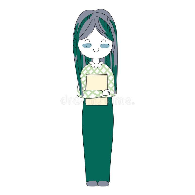 Vector девушка характера иллюстрации счастливая в стиле шаржа Doodle стоковые изображения rf