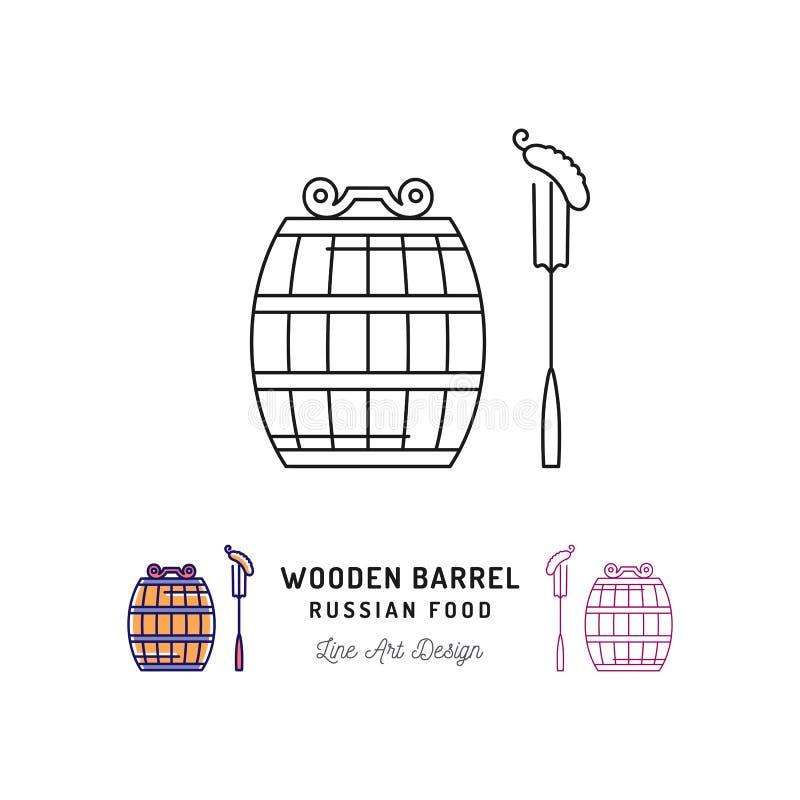 Vector деревянный значок бочонка, русская еда и питье Путешествующ в символе России ультра-ультрамодном, тонкая линия значки иску бесплатная иллюстрация