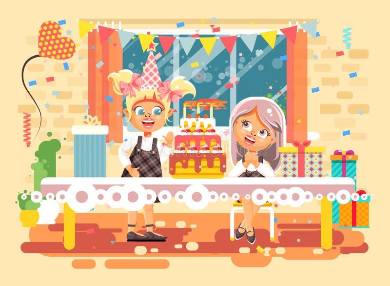 Vector дети персонажей из мультфильма иллюстрации, друзья, 2 девушки отпразднуйте с днем рождения, поздравлять, давая иллюстрация штока