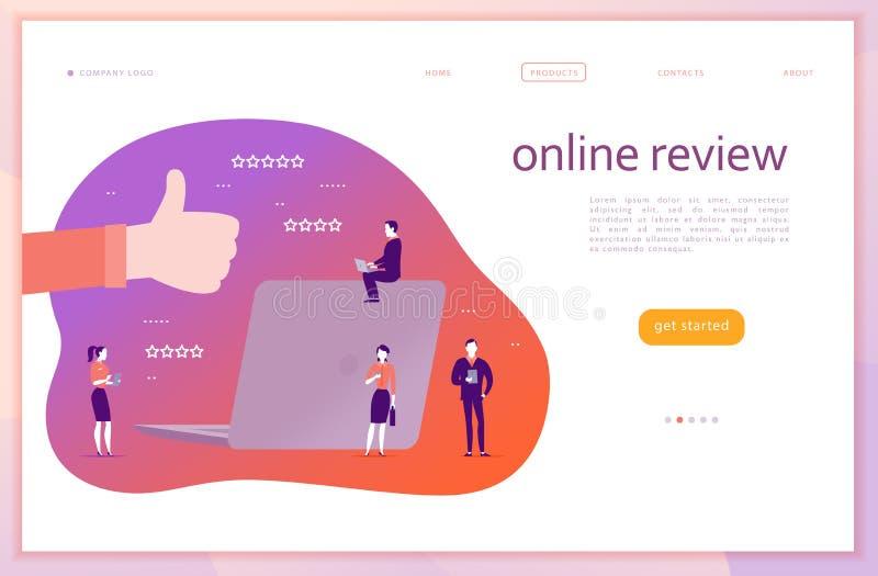 Vector дизайн концепции интернет-страницы с онлайн темой обзора Люди с устройствами - компьтер-книжка офиса, таблетка, smartphone иллюстрация штока