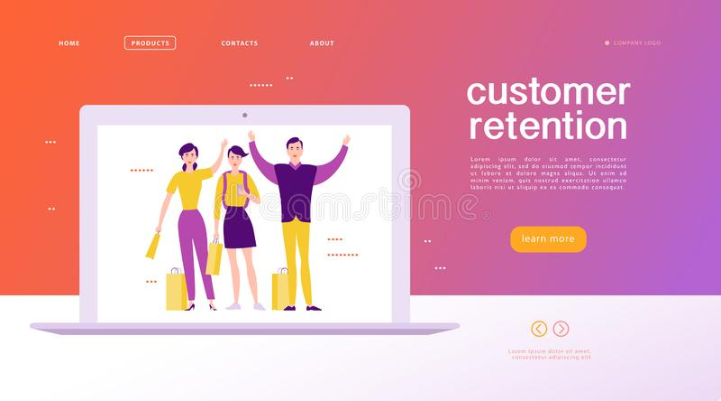 Vector дизайн концепции интернет-страницы - тема удерживания клиента бесплатная иллюстрация