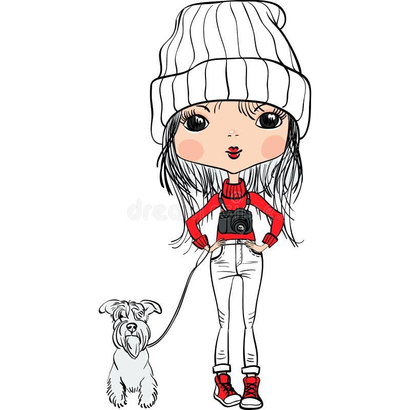 Vector девушка битника милая с собакой и камерой иллюстрация вектора