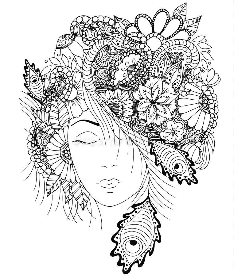 Vector девушка иллюстрации с цветками и улитка zentangle на ее голове стоковое фото