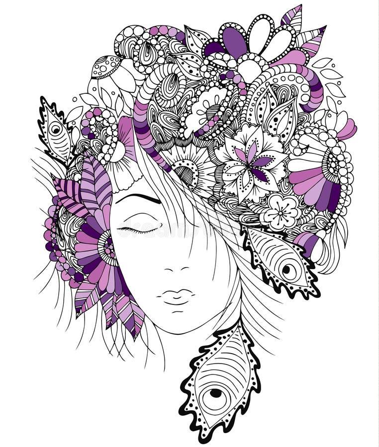 Vector девушка иллюстрации с цветками и улитка zentangle на ее голове стоковые изображения rf