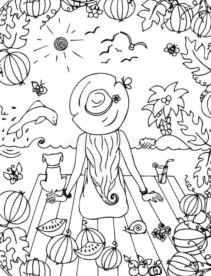 Vector девушка zentangl иллюстрации, женщина с собакой в море, праздник, перемещение иллюстрация штока