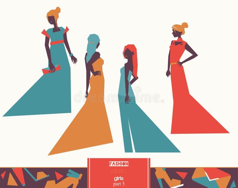 Vector девушки моды в различном одеянии платьев вечера, различных представлениях и аксессуарах Яркая иллюстрация для моды и моды иллюстрация штока