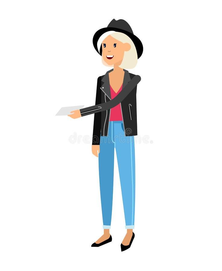 Vector детальные женщины или sudent, женщина в стиле вскользь одежды иллюстрация вектора