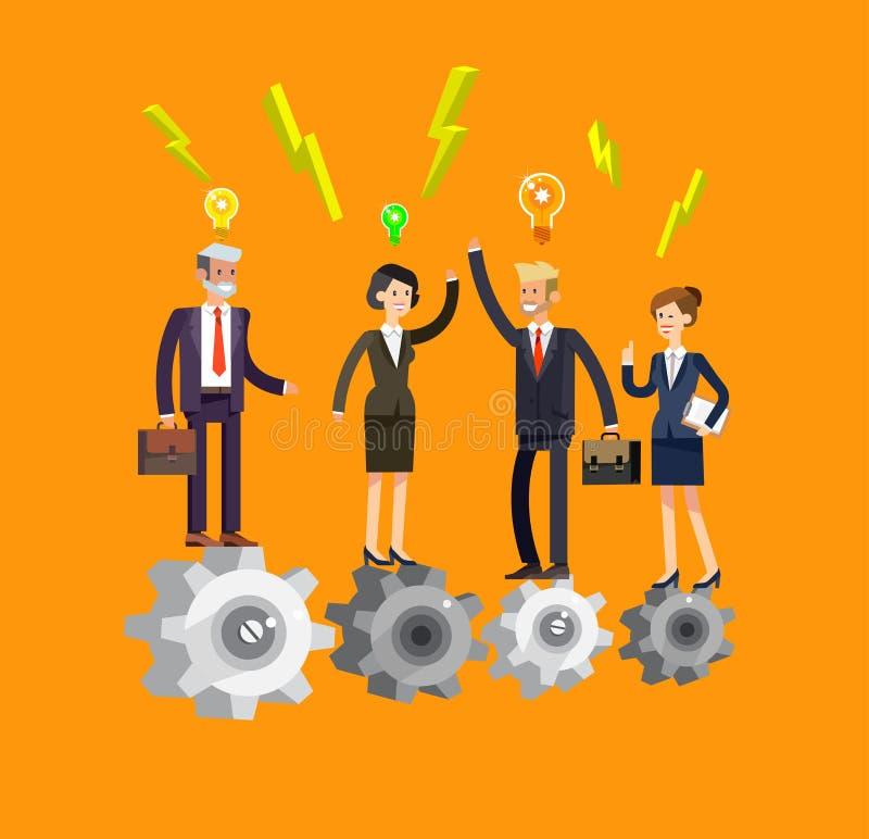 Vector детальные части бизнесмена и коммерсантки характера механизма компании иллюстрация штока