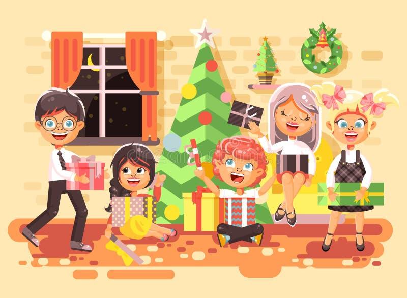 Vector дети персонажей из мультфильма иллюстрации, мальчики и девушки в комнате под рождественской елкой, счастливый Новый Год и иллюстрация вектора