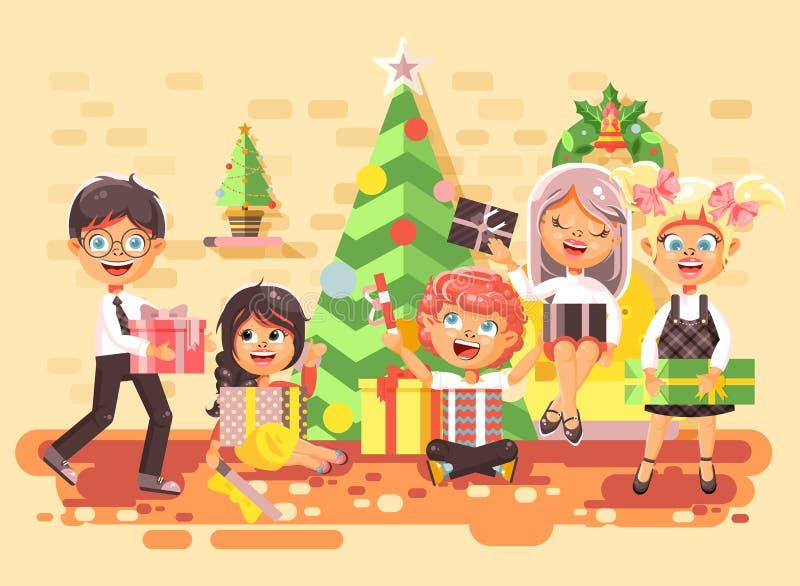Vector дети персонажей из мультфильма иллюстрации, мальчики и девушки в комнате под рождественской елкой, счастливый Новый Год и бесплатная иллюстрация