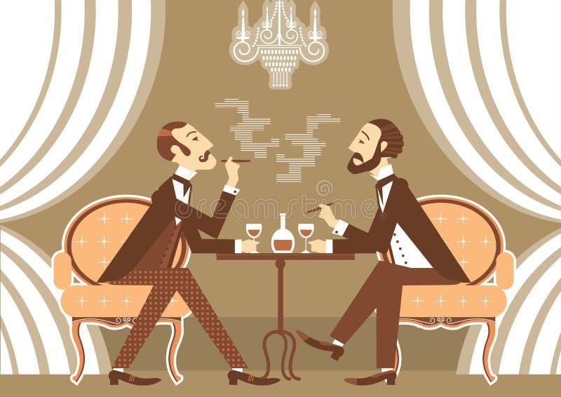 Vector джентльмен говоря и выпивая спирт в клубе иллюстрация штока