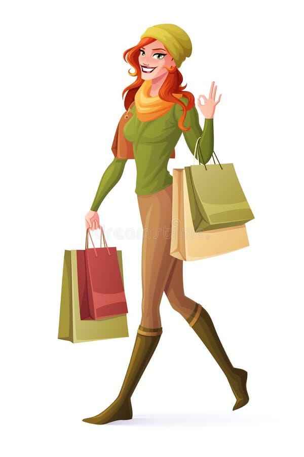 Vector женщина redhead идя с хозяйственными сумками и показывая О'КЕЫ иллюстрация вектора