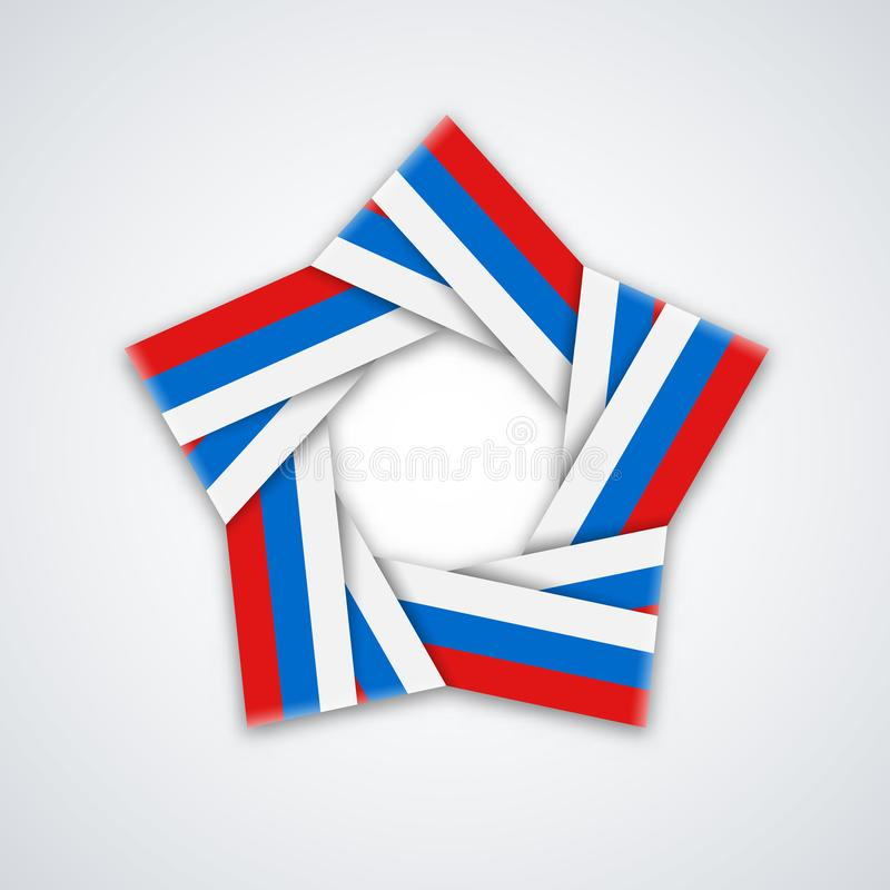 Vector звезда сделанная двойной ленты с русскими цветами флага бесплатная иллюстрация