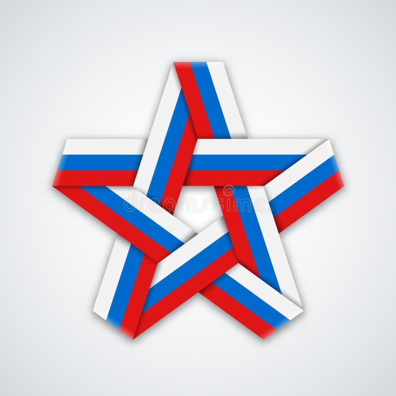 Vector звезда сделанная пересеченной ленты с русскими цветами флага бесплатная иллюстрация