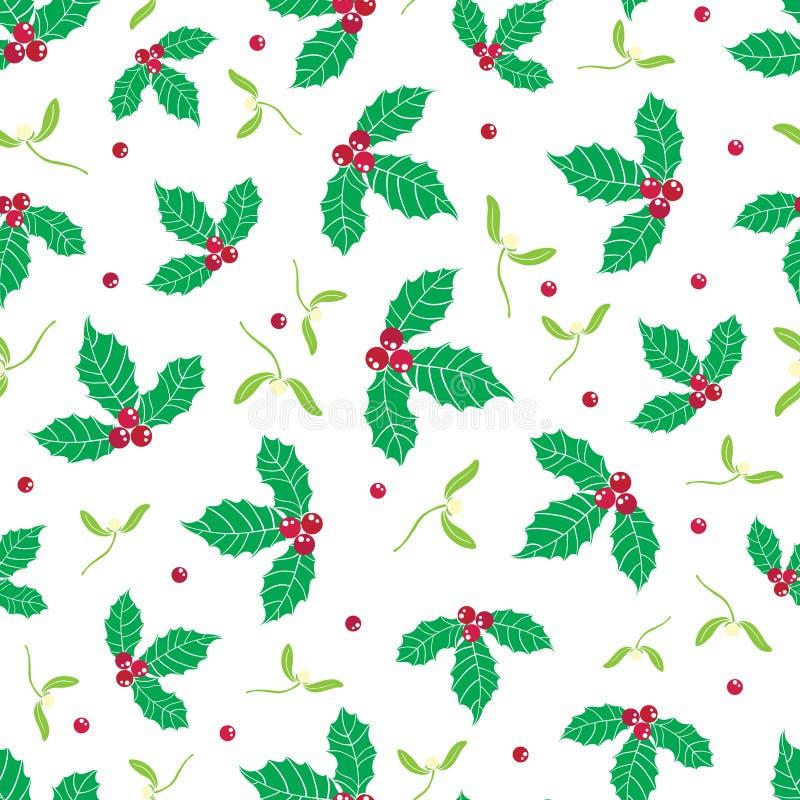 Vector зеленая, красная ягода падуба и предпосылка картины праздника омелы безшовная Большой для упаковки зимы тематической бесплатная иллюстрация