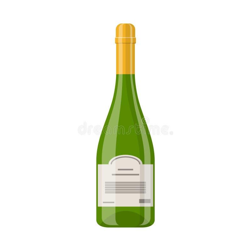 Vector зеленый цвет при закрытый золотом значок бутылки Шампани изолированный на белой предпосылке Винные изделия игристого вина иллюстрация вектора