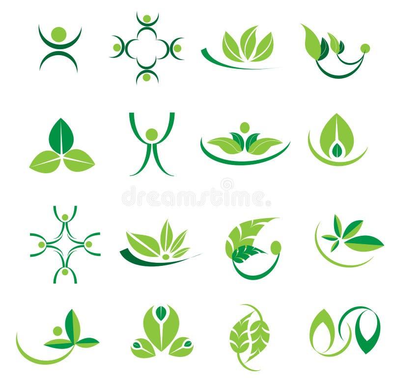 Vector зеленые значки логотипа листьев, экологичность, дизайны welness иллюстрация штока