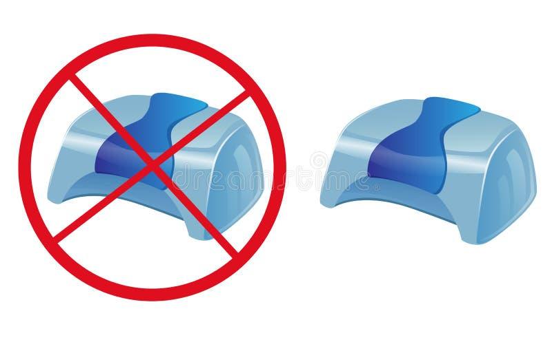 Vector знак никакой УЛЬТРАФИОЛЕТОВЫЙ сушильщик ногтя лампы - голубой дизайн бесплатная иллюстрация