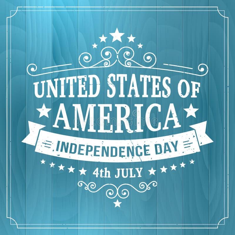 Vector знак 4-ое июля винтажной независимости американский на деревянной предпосылке иллюстрация вектора