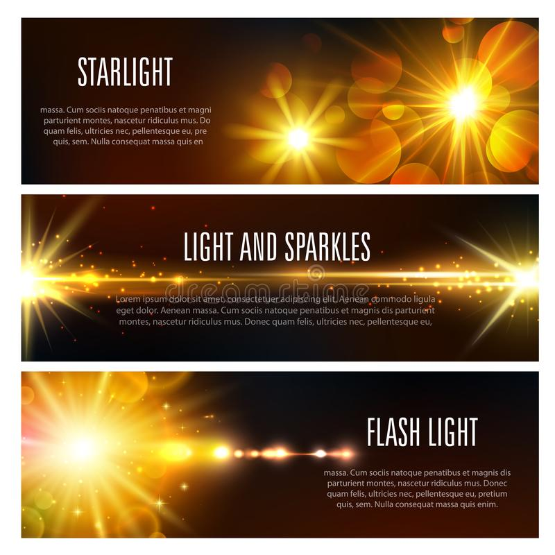 Vector знамена светлого влияния вспышки и sparkles иллюстрация штока