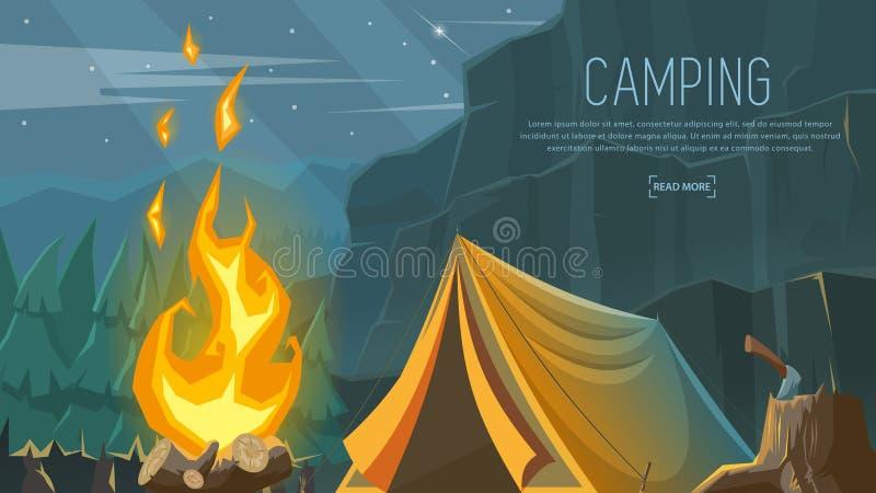 Vector знамя на теме располагаться лагерем, пеший туризм, взбираться, идя спорты иллюстрация вектора