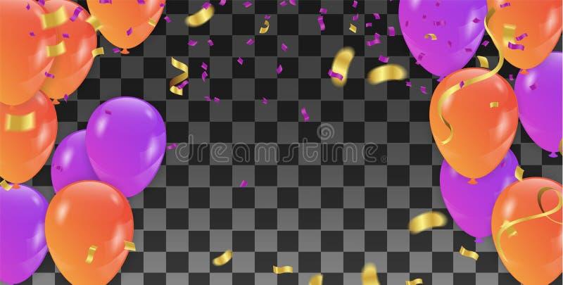 Vector знамя праздника с confetti, пестроткаными воздушными шарами Gree иллюстрация вектора