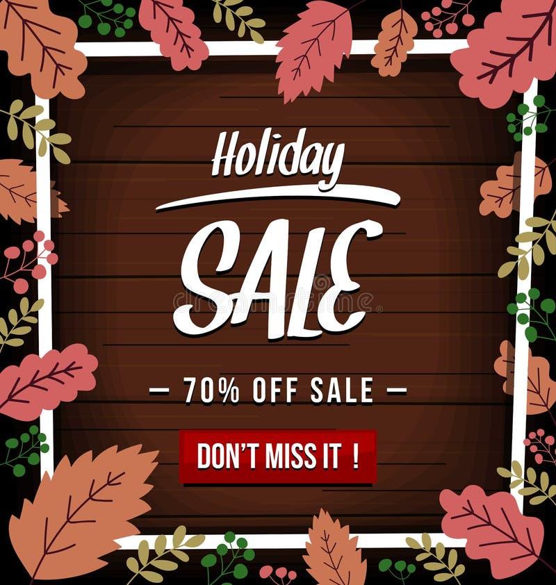 Vector знамя продажи праздника осени с абстрактной текстурой лист и древесины сезона падения в темном цвете бесплатная иллюстрация