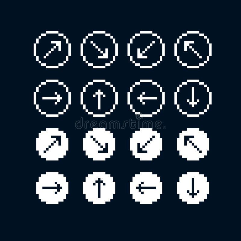 Vector значки бита квартиры 8, собрание простого геометрического пиксела sy иллюстрация вектора