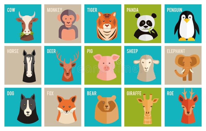 Vector значки животных и любимчиков в плоском стиле иллюстрация штока