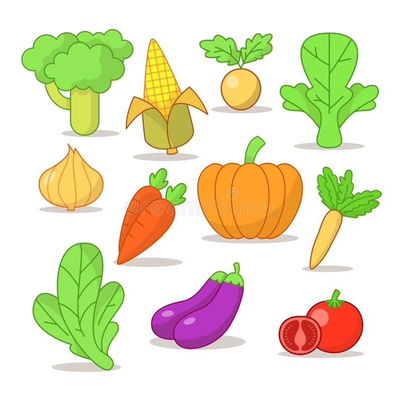 Vector значки овощей, изолированной иллюстрации овощей бесплатная иллюстрация