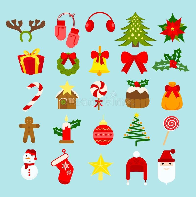 Vector значки украшения праздника Нового Года рождества иллюстрации и комплект элементов изолированные на свете - голубой предпос иллюстрация штока