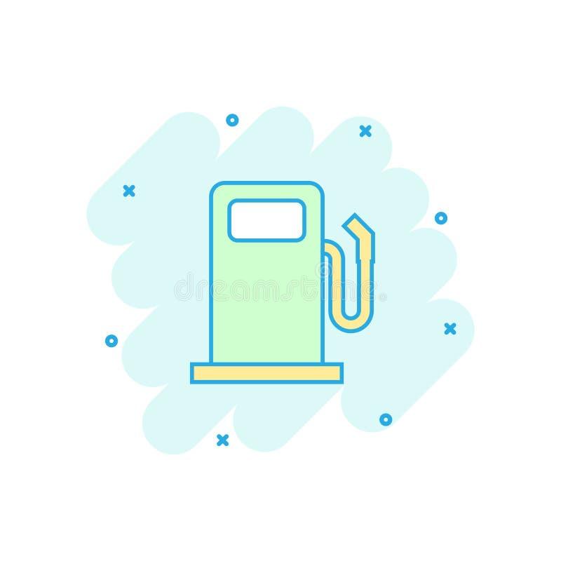 Vector значок бензоколонки топлива шаржа в шуточном стиле Нефть автомобиля иллюстрация штока