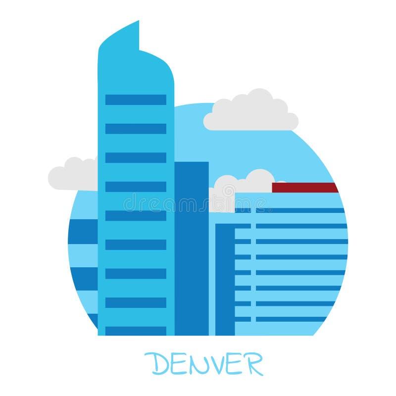Vector значок города Денвера на предпосылке изолированной белизной иллюстрация вектора
