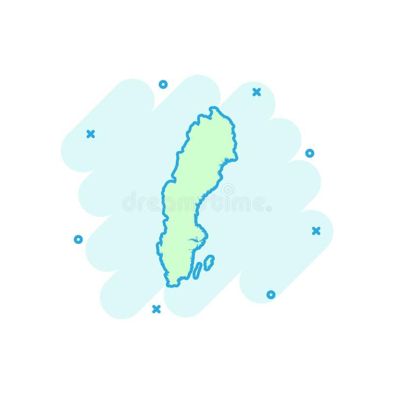 Vector значок карты Швеции шаржа в шуточном стиле Illus знака Швеции бесплатная иллюстрация