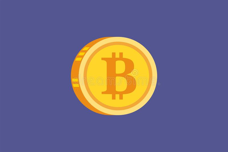 Vector значок концепции золото Bitcoin и Cryptocurrency цифровой иллюстрация штока