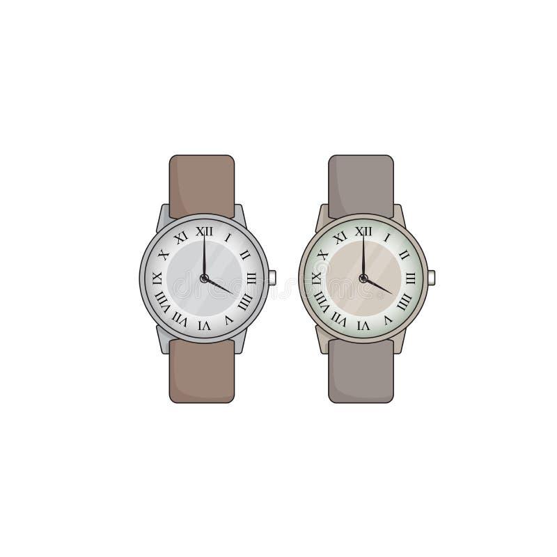 Vector значок наручных часов руки, предпосылка наручных часов изолированная иллюстрацией белая, комплект значка часов иллюстрация вектора