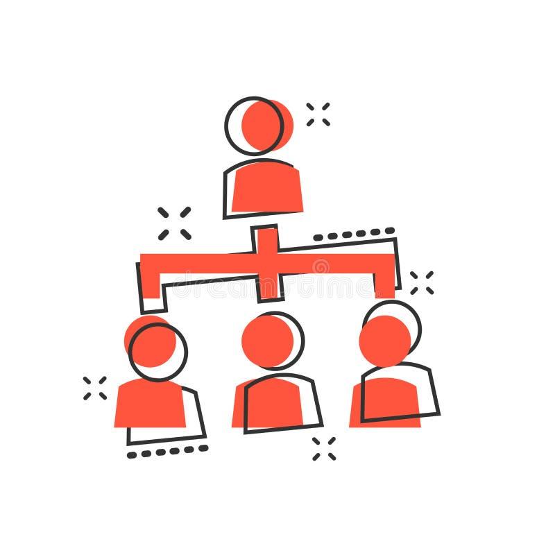 Vector значок организационной схемы людей шаржа корпоративный в шуточном иллюстрация штока