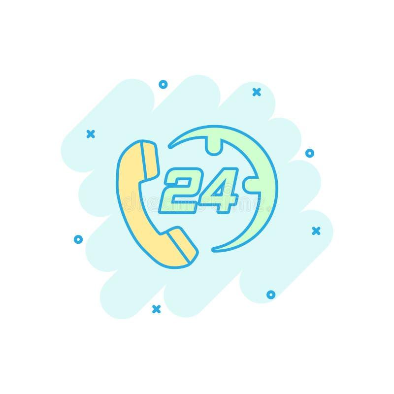 Vector значок службы технической поддержки 24/7 шаржа в шуточном стиле Телефон иллюстрация вектора