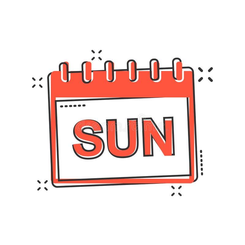 Vector значок страницы календаря воскресенья шаржа в шуточном стиле Calenda иллюстрация вектора