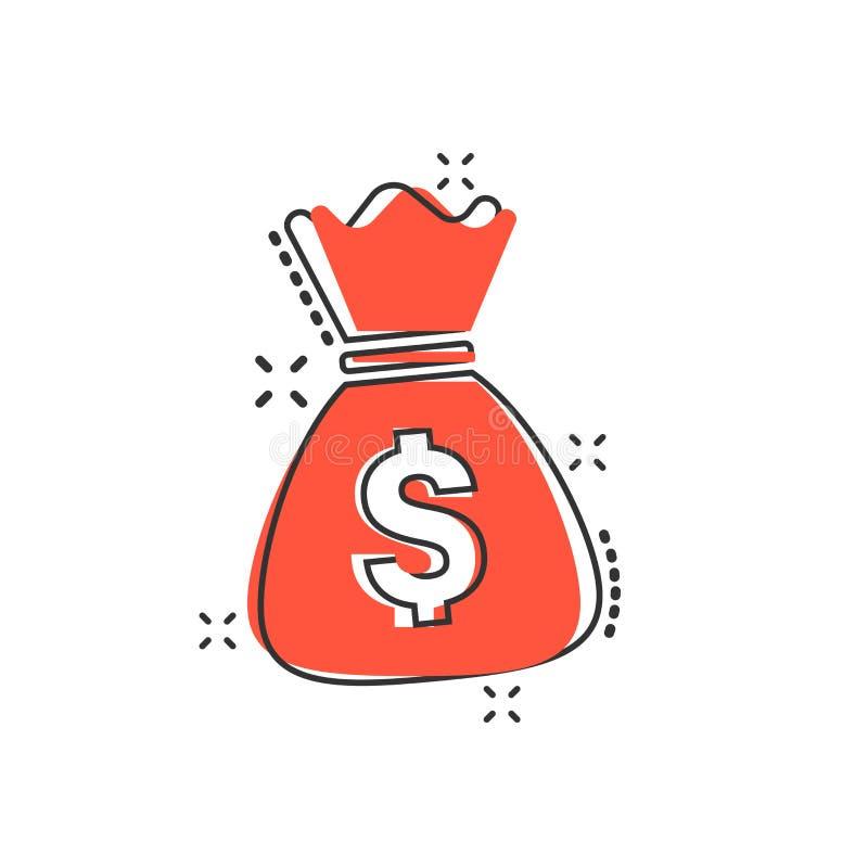 Vector значок сумки денег шаржа в шуточном стиле Moneybag с куклой иллюстрация вектора