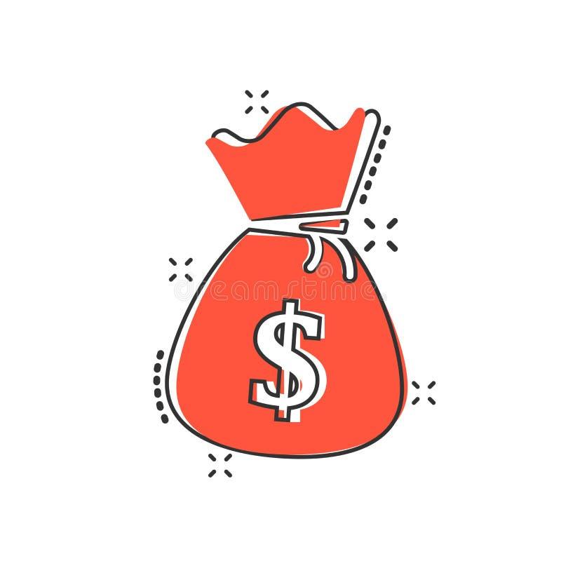 Vector значок сумки денег шаржа в шуточном стиле Moneybag с куклой бесплатная иллюстрация