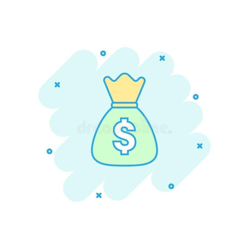 Vector значок сумки денег шаржа в шуточном стиле Moneybag с куклой иллюстрация штока