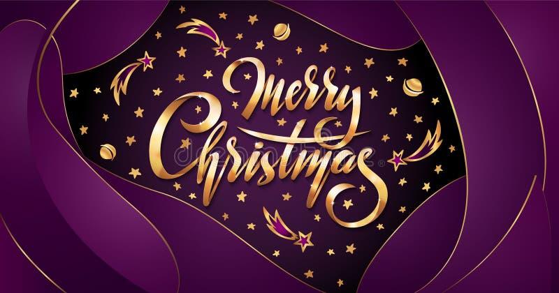 Vector золотой текст с Рождеством Христовым на фиолетовой пластичной предпосылке влияния с падающими звездами, планетами, галакти бесплатная иллюстрация