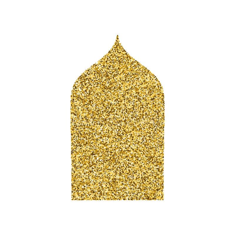 Vector золотые формы Рамазана Kareem яркого блеска окон и стробов золота Силуэт двери вектора арабский вектор символа регулирован бесплатная иллюстрация