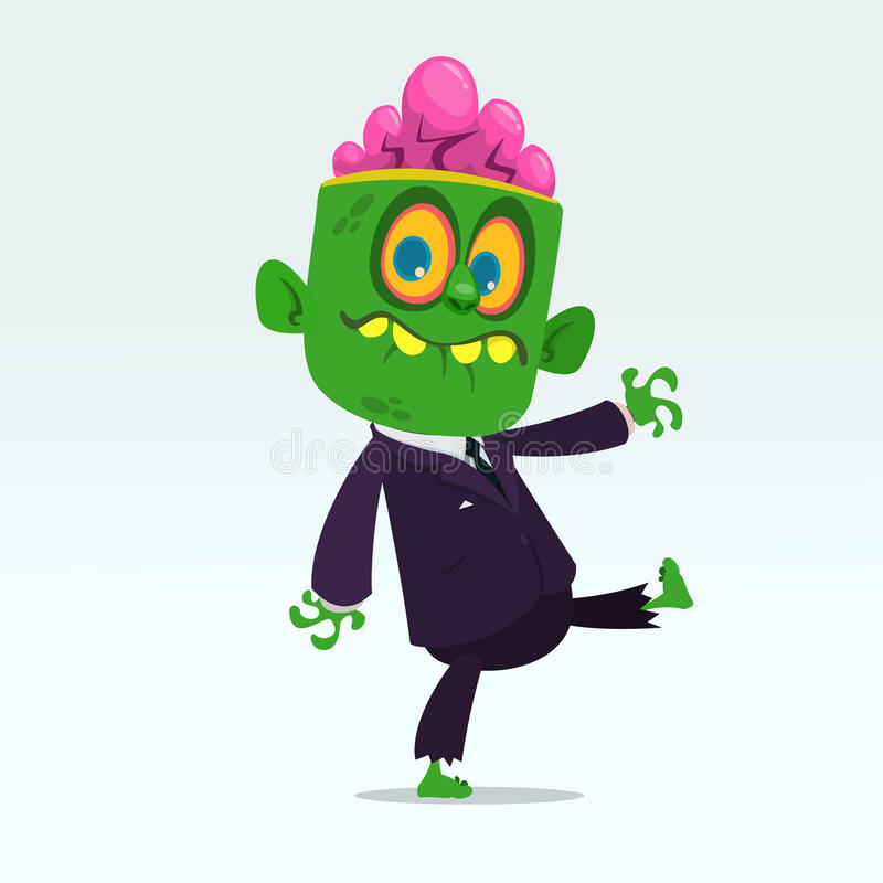 Vector зомби шаржа смешное зеленое при большой головной деловой костюм изолированный на свете - серая предпосылка Иллюстрация век бесплатная иллюстрация