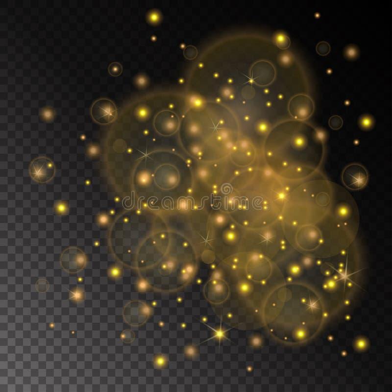Vector золотой конспект концепции светов на прозрачной предпосылке шахматной доски иллюстрация вектора