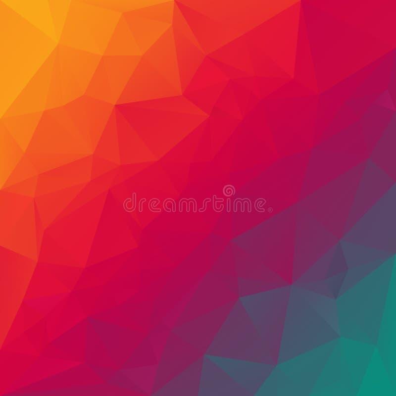 Vector дизайн в цветах спектра радуги - апельсин полигональной предпосылки триангулярный, красный цвет, vio иллюстрация штока