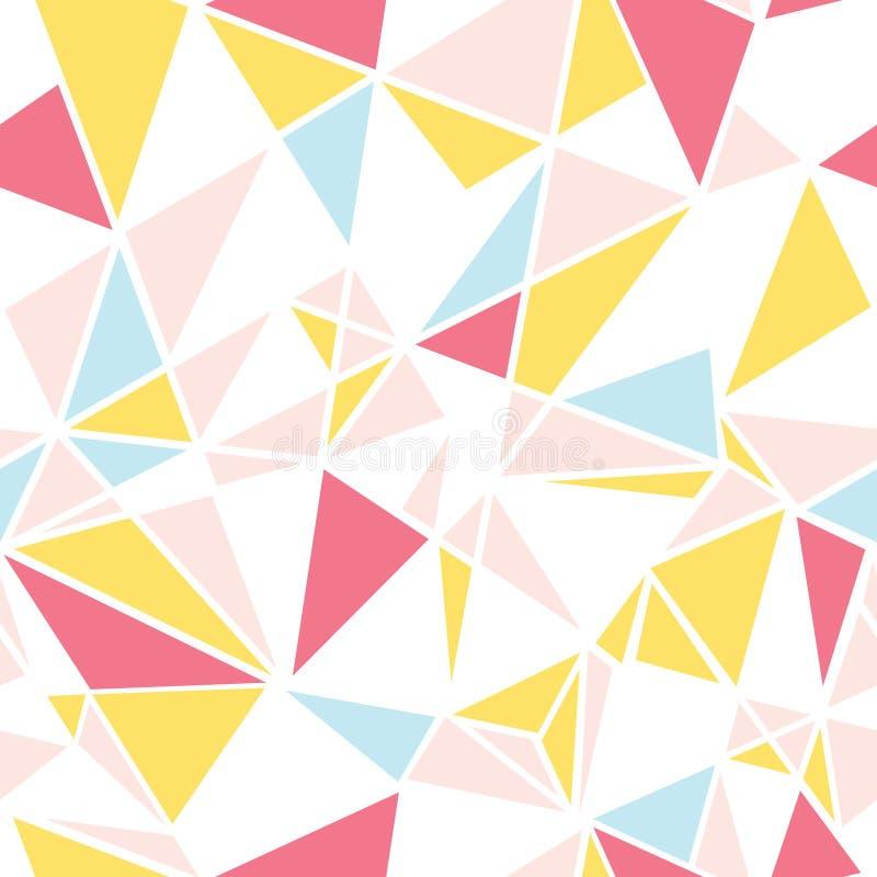 Vector дизайн картины повторения пинка, голубых и желтых треугольников конспекта безшовный Большой для современной ткани, обоев иллюстрация вектора