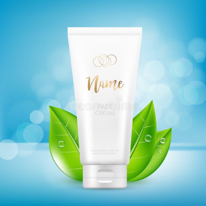 Vector дизайн косметического шаблона рекламы пакета для сливк руки или стороны Насмешка вверх по трубке на голубой предпосылке с бесплатная иллюстрация